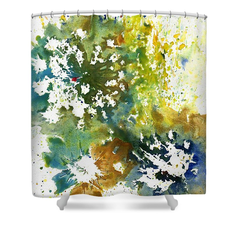 Abstract Shower Curtain featuring the painting Wild Carrots by Katherine Berlin