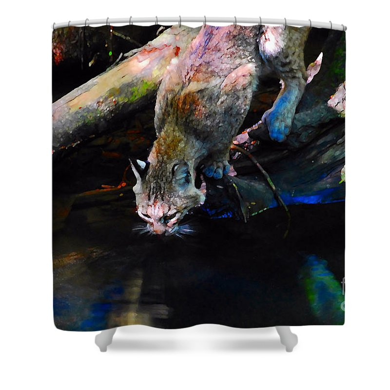 Cat.wild Shower Curtain featuring the photograph Wild Cat Drinking by David Lee Thompson