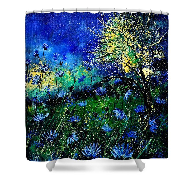 Poppies Shower Curtain featuring the painting Wild Chocoree by Pol Ledent