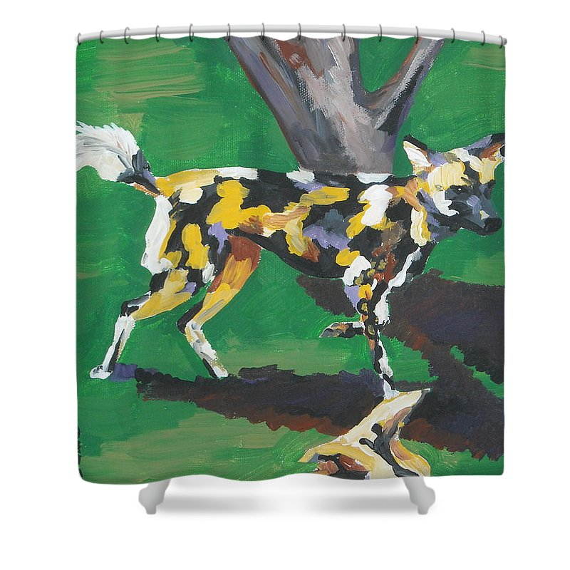 Dog Shower Curtain featuring the painting Wild Dogs by Caroline Davis