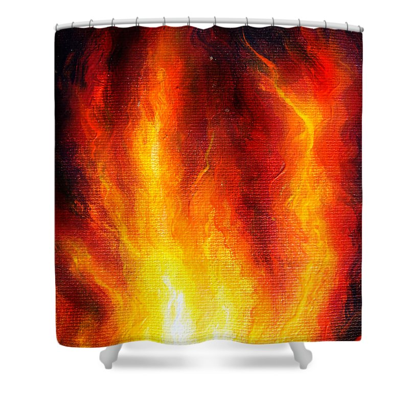 Fire Shower Curtain featuring the painting Wild Fire 04 by Sofia Metal Queen