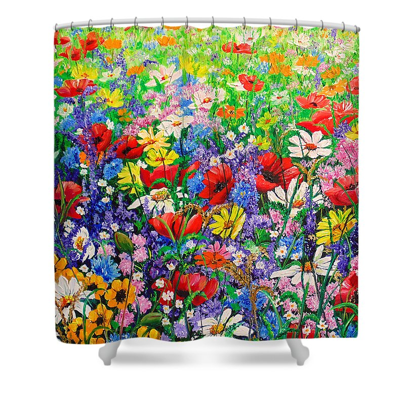 Wild Flowers Shower Curtain featuring the painting Wild Flower Meadow by Karin Dawn Kelshall- Best
