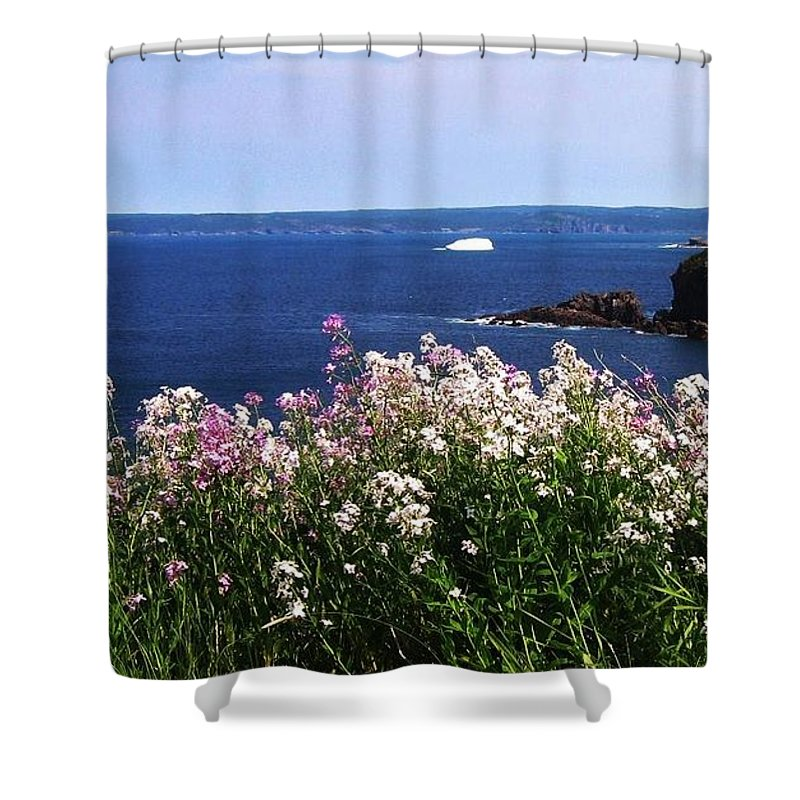 Photograph Iceberg Wild Flower Atlantic Ocean Newfoundland Shower Curtain featuring the photograph Wild Flowers And Iceberg by Seon-Jeong Kim