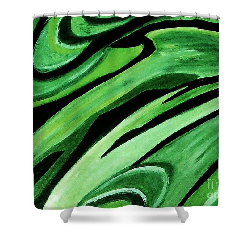 Painting Shower Curtain featuring the painting Wild Green by Yael VanGruber