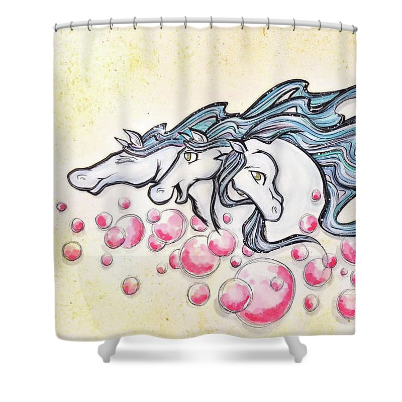 Horses Shower Curtain featuring the drawing Wild Horses by Debi Winger