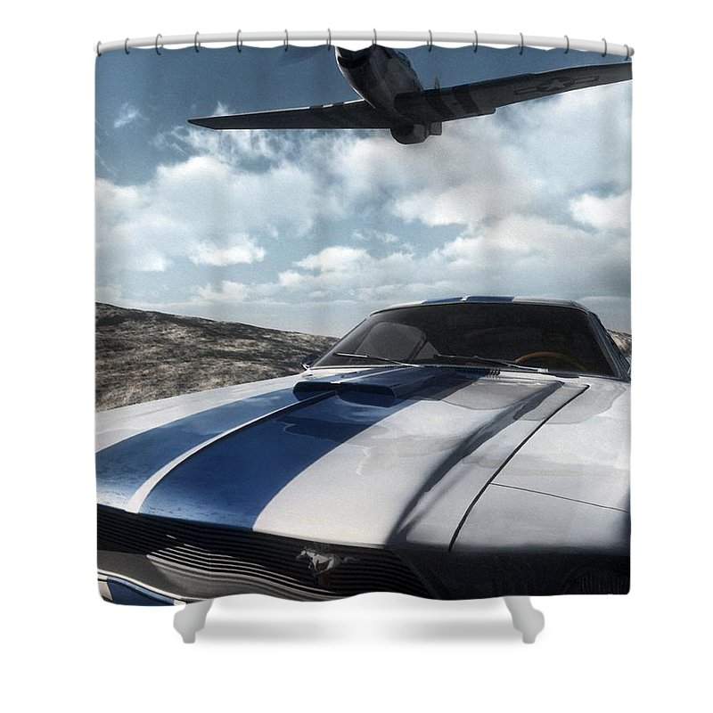Racing Shower Curtain featuring the digital art Wild Horses by Richard Rizzo
