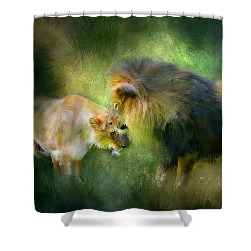 Lion Shower Curtain featuring the mixed media Wild Instinct by Carol Cavalaris