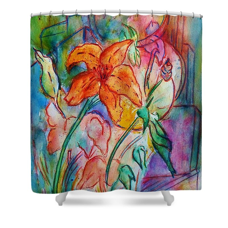 Floral Shower Curtain featuring the painting Wild Lily by Robin Monroe