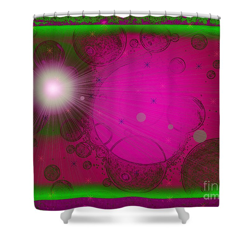 Pink Shower Curtain featuring the mixed media Wild Planet B-52 by Roxy Riou