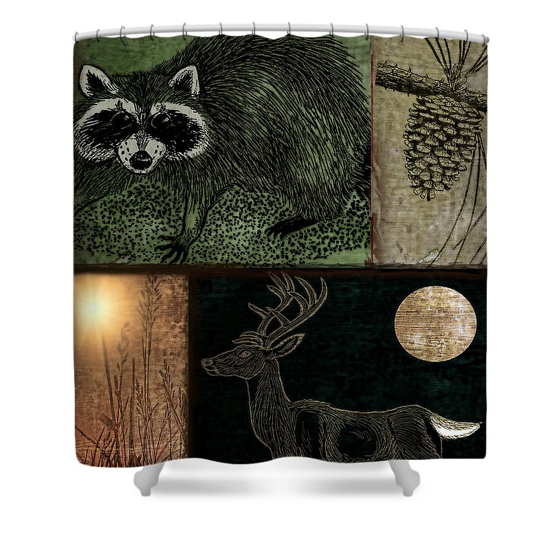 Wildlife Shower Curtain featuring the painting Wild Racoon And Deer Patchwork by Mindy Sommers