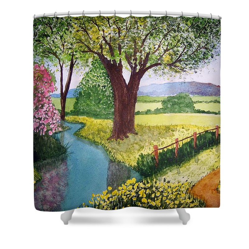 Landscape Shower Curtain featuring the painting Wild Rose Creek by B Kathleen Fannin