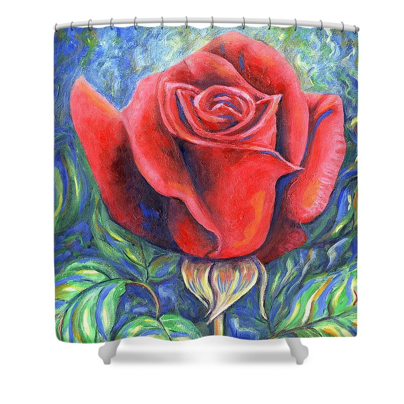 Flower Shower Curtain featuring the painting Wild Rose One by Linda Mears