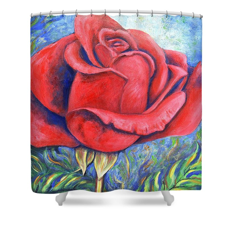 Flower Shower Curtain featuring the painting Wild Rose Two by Linda Mears