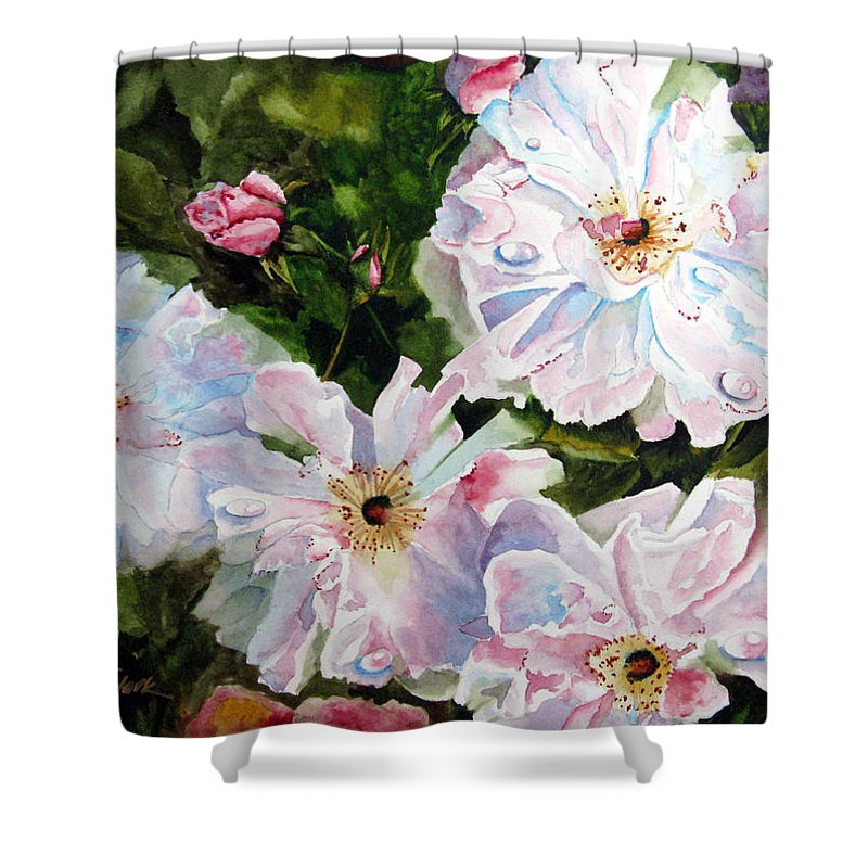 Flowers Shower Curtain featuring the painting Wild Roses by Karen Stark