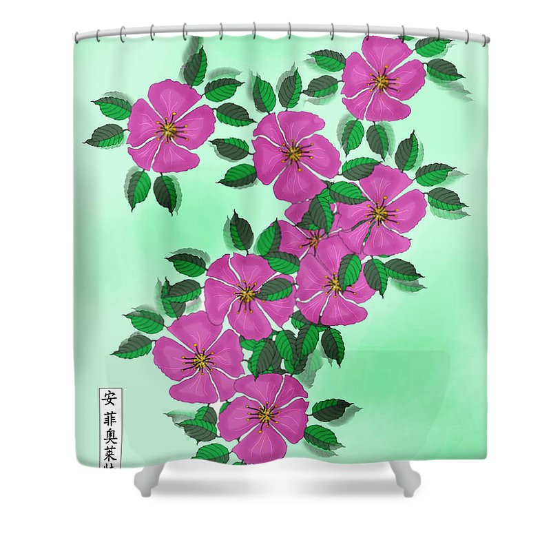 Floral Shower Curtain featuring the painting Wild Roses by Anne Norskog