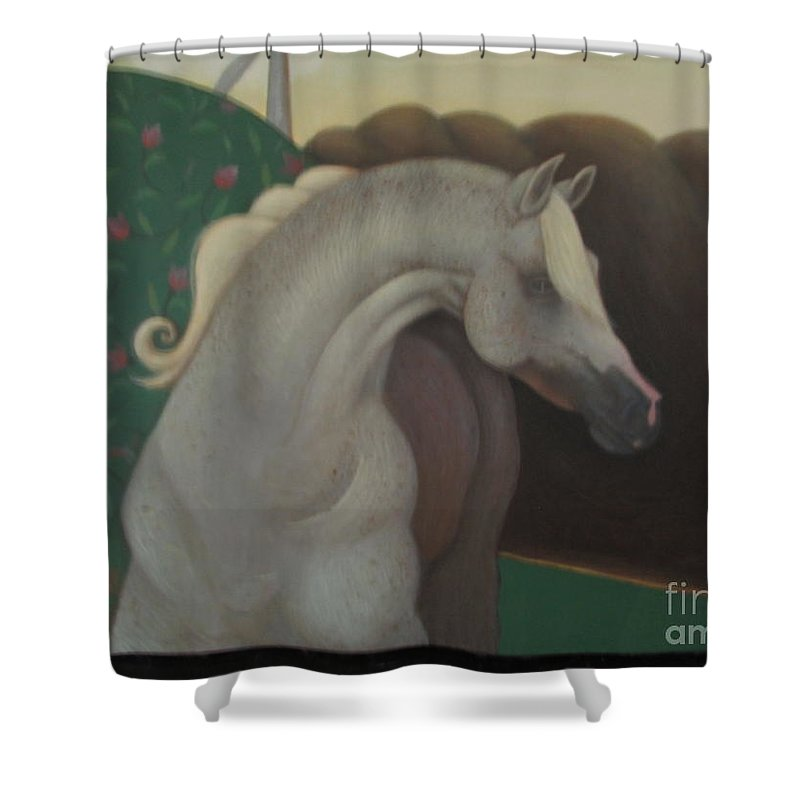 Horse Shower Curtain featuring the painting Wild Steady by Kamara Hosic