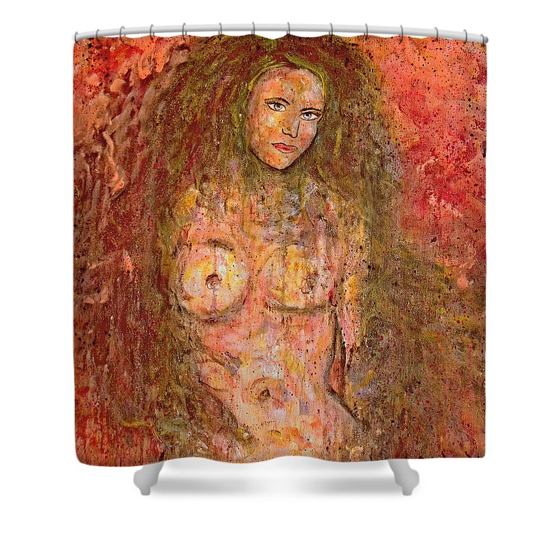 Nude Shower Curtain featuring the painting Wild Thing by Natalie Holland