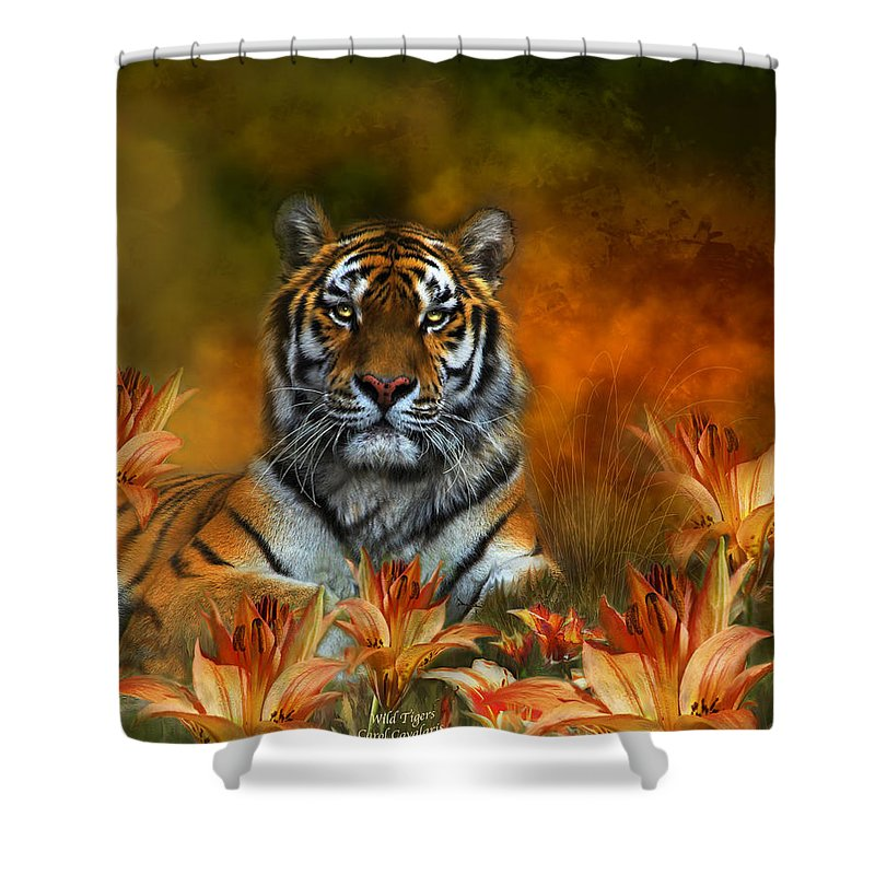 Tiger Shower Curtain featuring the mixed media Wild Tigers by Carol Cavalaris