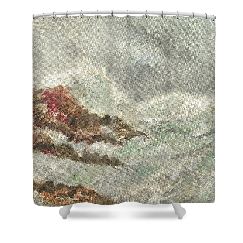 Landscape Shower Curtain featuring the painting Wild  Waves by Amrita Banerjee