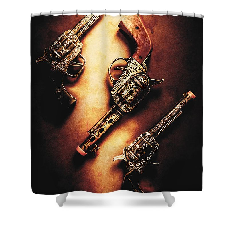 Toy Shower Curtain featuring the photograph Wild West Cap Guns by Jorgo Photography - Wall Art Gallery