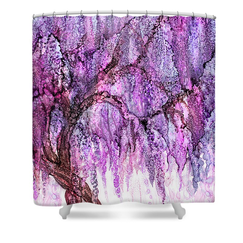 Superieur Carol Cavalaris Shower Curtain Featuring The Mixed Media Wild Wisteria By  Carol Cavalaris