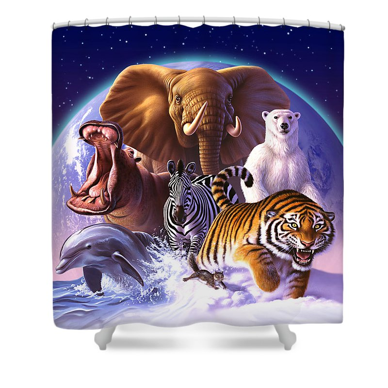 Mammals Shower Curtain featuring the painting Wild World by Jerry LoFaro