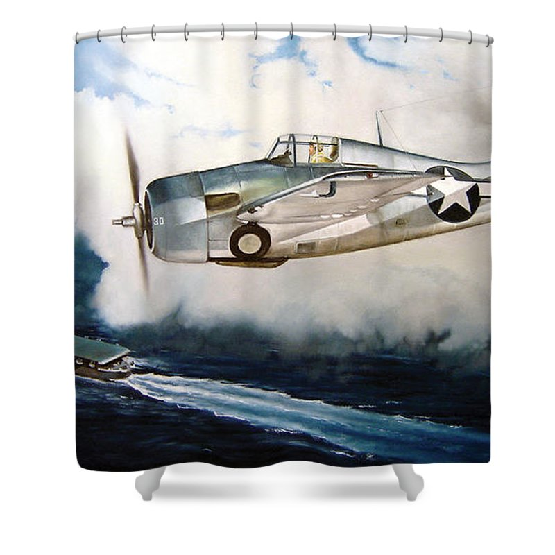Wwii Shower Curtain featuring the painting Wildcat Home by Marc Stewart