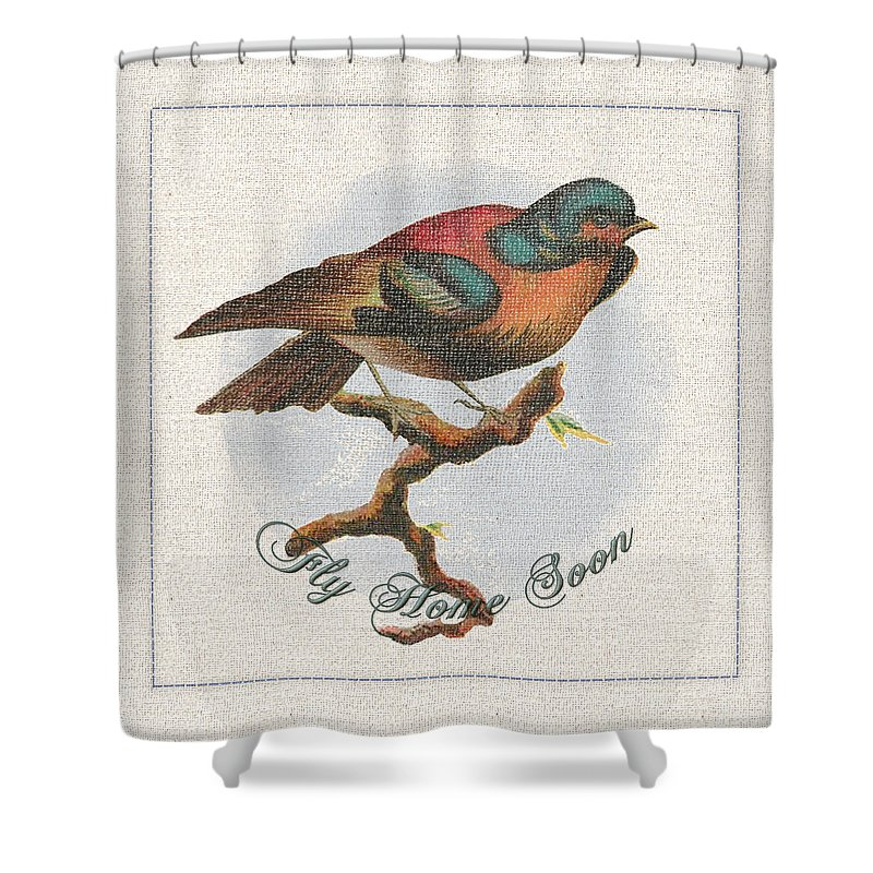 Bird Shower Curtain featuring the tapestry - textile Wildcraft Bird Print On Linen by Artzmakerz