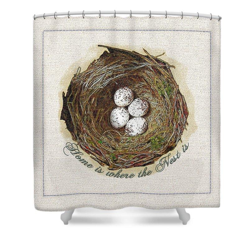 Nest Shower Curtain featuring the digital art Wildcraft Nest On Linen by Artzmakerz