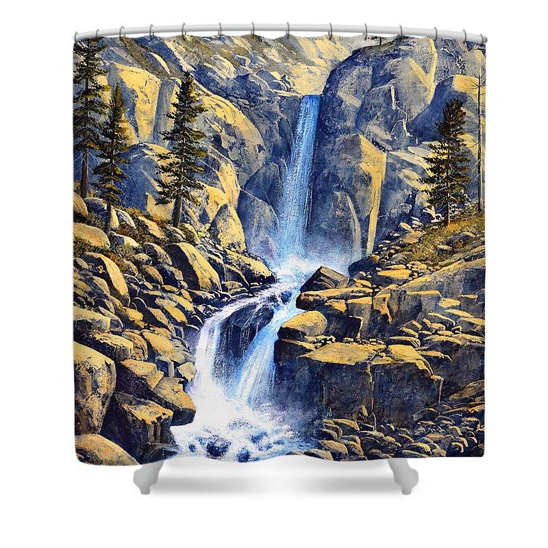 Wilderness Waterfall Shower Curtain featuring the painting Wilderness Waterfall by Frank Wilson