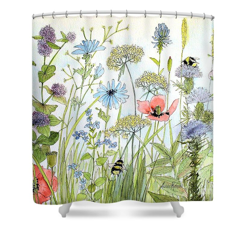 Botanical Garden Shower Curtain featuring the painting Wildflower And Bees by Laurie Rohner