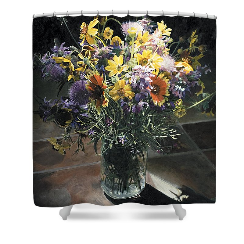 Texas Shower Curtain featuring the painting Wildflower Bouquet II by Rebecca Zook