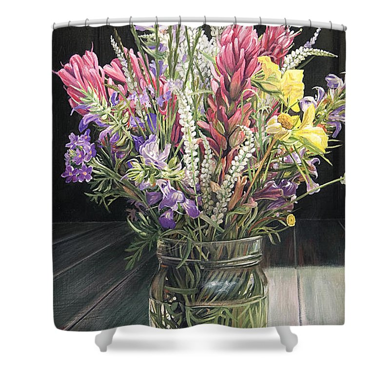 Wildflowers Shower Curtain Featuring The Painting Wildflower Bouquet Three By Rebecca Zook