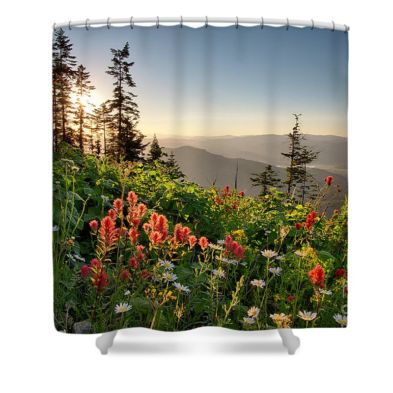 Idaho Shower Curtain featuring the photograph Evening Kisses by Idaho Scenic Images Linda Lantzy
