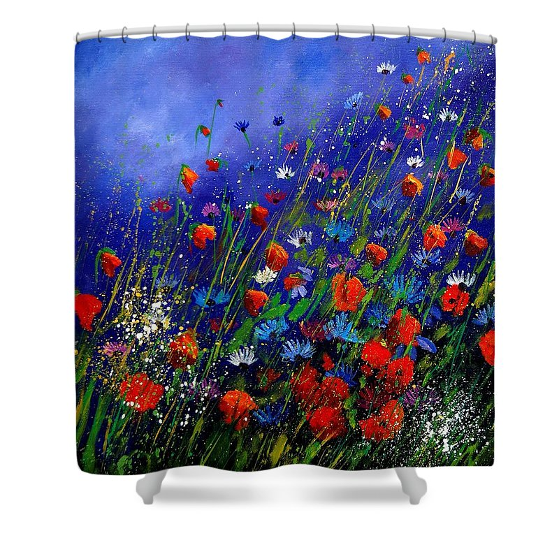 Poppies Shower Curtain featuring the painting Wildflowers 78 by Pol Ledent