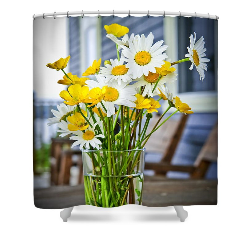 Bouquet Shower Curtain featuring the photograph Wildflowers Bouquet At Cottage by Elena Elisseeva