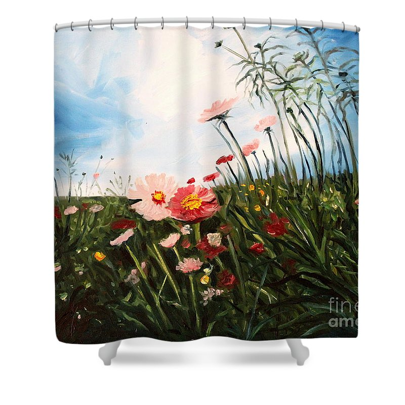 Oil Shower Curtain featuring the painting Wildflowers by Elizabeth Robinette Tyndall