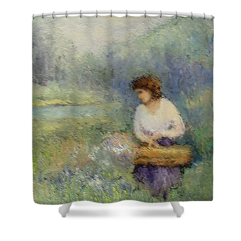 Woman Shower Curtain featuring the painting Wildflowers by Gail Kirtz
