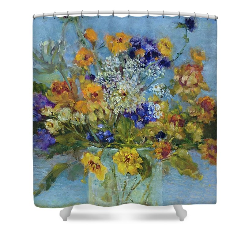 Purple And Yellow Wildflowers In Hudson Valley Landscape Shower Curtain featuring the painting Wildflowers On The Lake by Kathleen Hoekstra