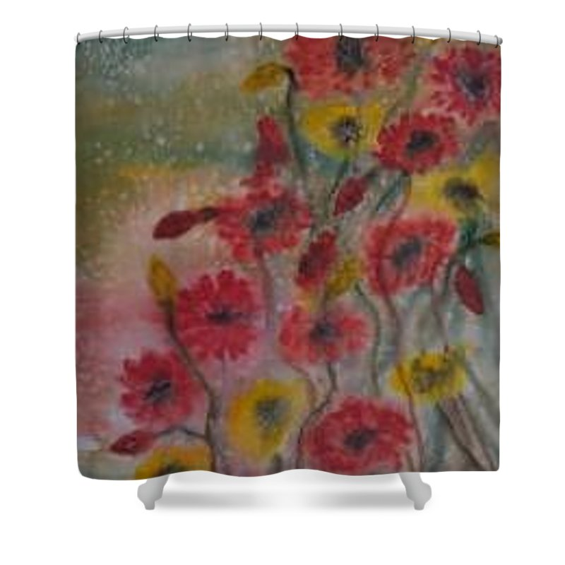 Watercolor Shower Curtain featuring the painting WILDFLOWERS still life modern print by Derek Mccrea
