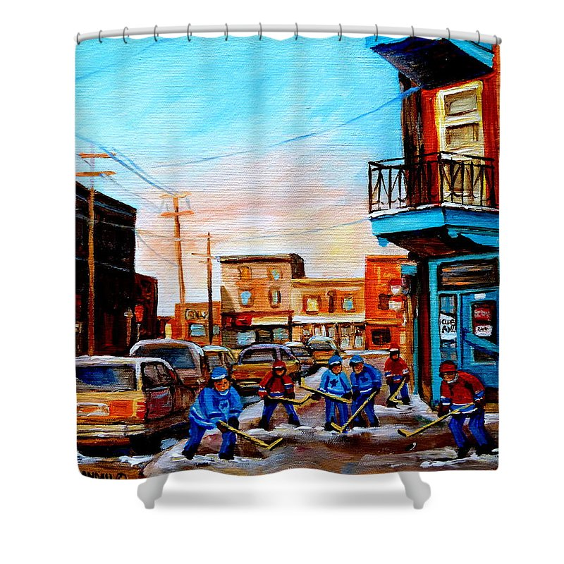 Hockey Shower Curtain featuring the painting Wilensky's A Friendly Game Of Hockey by Carole Spandau
