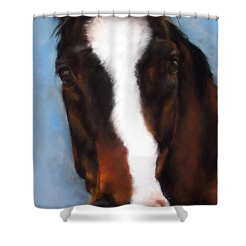 Horse Painting Shower Curtain featuring the painting Willie Duke by Frances Marino