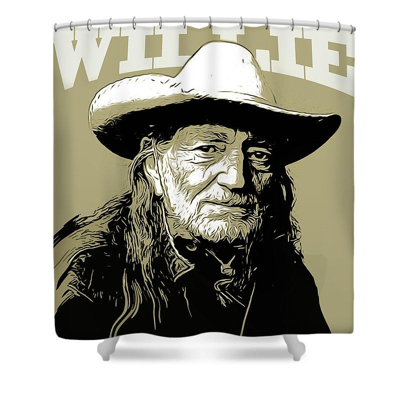 Willie Nelson Shower Curtain featuring the mixed media Willie by Greg Joens