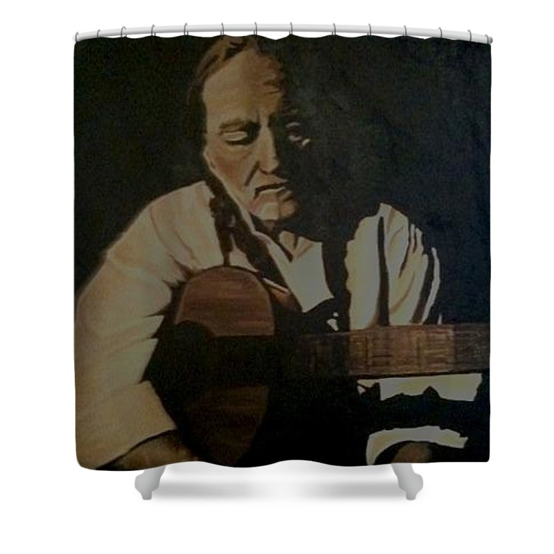 Willie Shower Curtain featuring the painting Willie Nelson by Ashley Lane