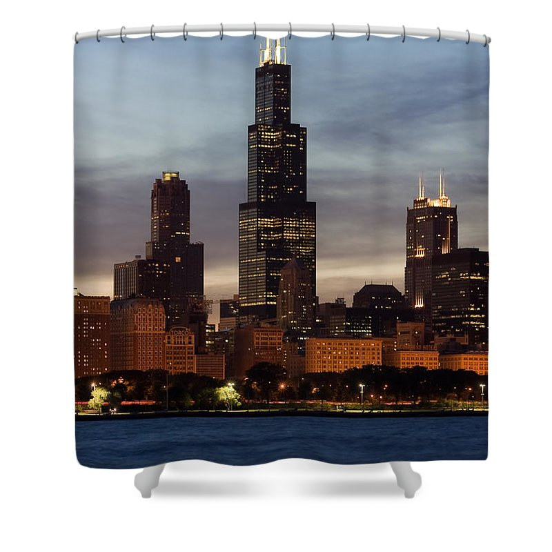 3scape Photos Shower Curtain featuring the photograph Willis Tower At Dusk Aka Sears Tower by Adam Romanowicz