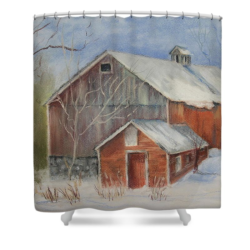 Barn Shower Curtain featuring the painting Williston Barn by Carol Mueller