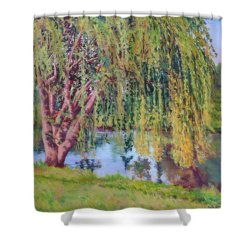 Impressionism Shower Curtain featuring the painting Willow by Keith Burgess