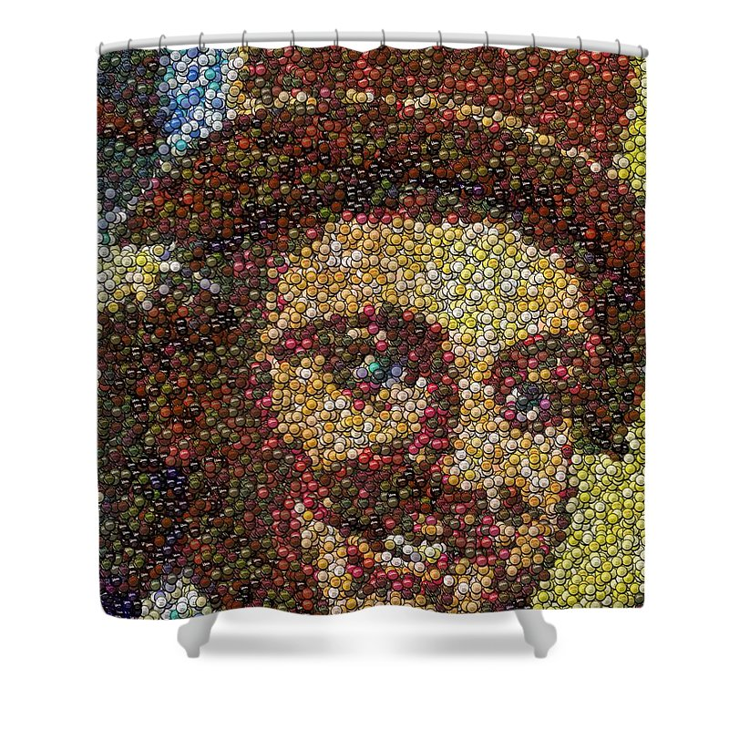 Original Shower Curtain featuring the mixed media Willy Wonka Fizzy Lifting Bottle Cap Mosaic by Paul Van Scott