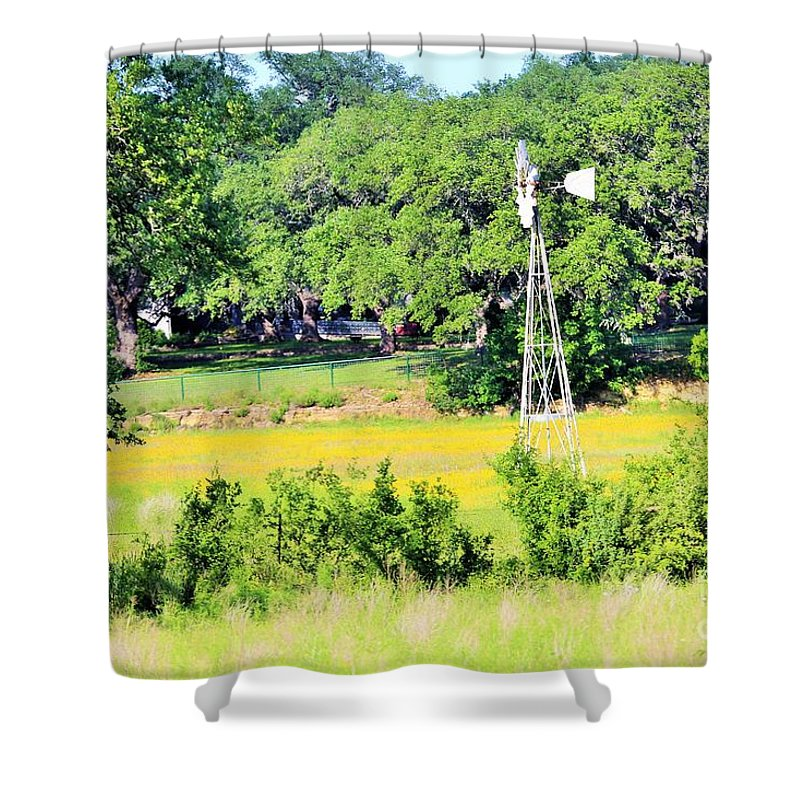 Shower Curtain featuring the photograph wind mill N weeds by Jeff Downs