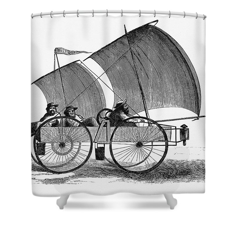 Sail Shower Curtain Featuring The Drawing Wind Powered Car Sailing To Pikes Peak 1860 By